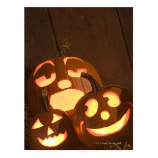 Glowing jack-o -lanterns 2 postcards