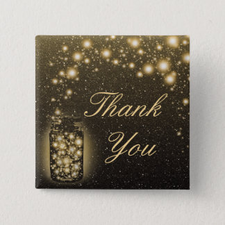 Glowing Jar Of Fireflies Night Stars Thank You Button