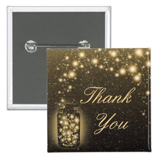 Glowing Jar Of Fireflies Night Stars Thank You Button