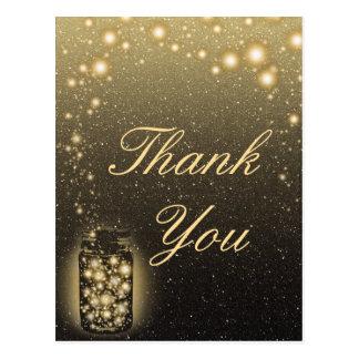 Glowing Jar Of Fireflies Night Stars Thank You Post Cards