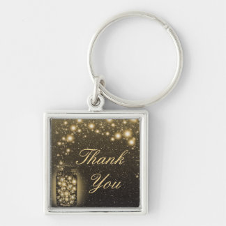 Glowing Jar Of Fireflies Night Stars Thank You Silver-Colored Square Keychain