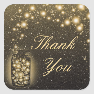 Glowing Jar Of Fireflies Night Stars Thank You Square Sticker