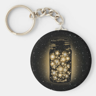 Glowing Jar Of Fireflies With Night Stars Basic Round Button Keychain