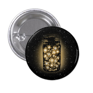 Glowing Jar Of Fireflies With Night Stars Button