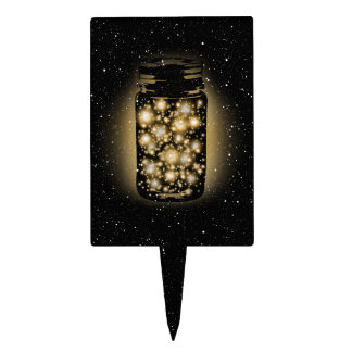 Glowing Jar Of Fireflies With Night Stars Cake Topper