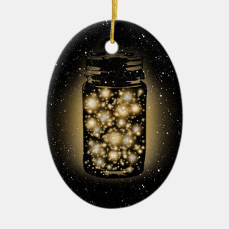 Glowing Jar Of Fireflies With Night Stars Ceramic Ornament