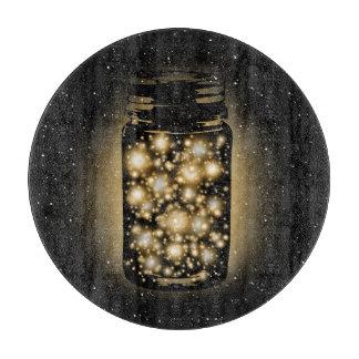 Glowing Jar Of Fireflies With Night Stars Cutting Boards