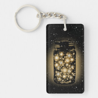 Glowing Jar Of Fireflies With Night Stars Double-Sided Rectangular Acrylic Keychain