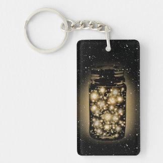 Glowing Jar Of Fireflies With Night Stars Double-Sided Rectangular Acrylic Keychain