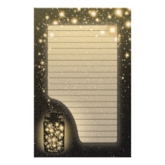 Glowing Jar Of Fireflies With Night Stars Lined Stationery at Zazzle