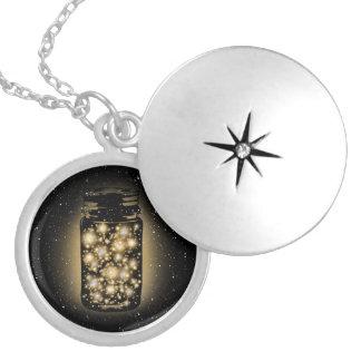 Glowing Jar Of Fireflies With Night Stars Locket Necklace
