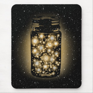 Glowing Jar Of Fireflies With Night Stars Mouse Pad