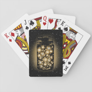Glowing Jar Of Fireflies With Night Stars Playing Cards