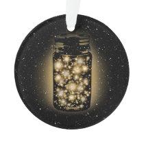 Glowing Jar Of Fireflies With Night Stars Ornament