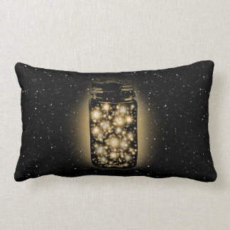 Glowing Jar Of Fireflies With Night Stars Pillow
