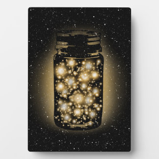 Glowing Jar Of Fireflies With Night Stars Plaque