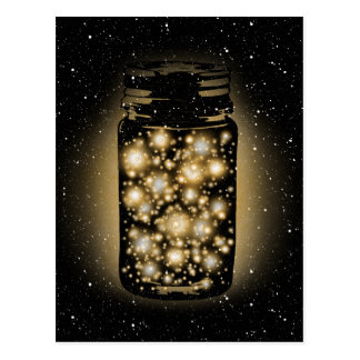 Glowing Jar Of Fireflies With Night Stars Post Cards