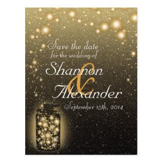 Glowing Jar Of Fireflies With Night Stars Postcard