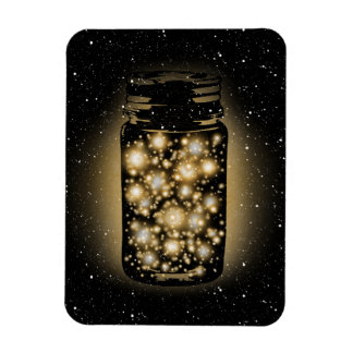 Glowing Jar Of Fireflies With Night Stars Rectangular Photo Magnet