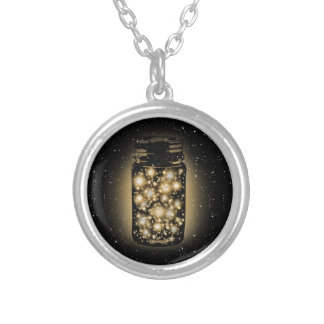 Glowing Jar Of Fireflies With Night Stars Round Pendant Necklace