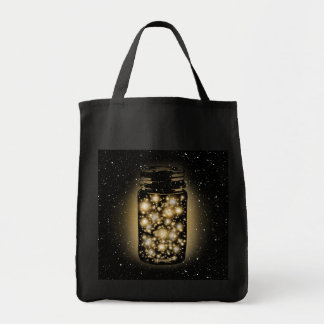 Glowing Jar Of Fireflies With Night Stars Tote Bag