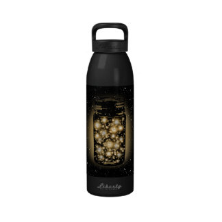 Glowing Jar Of Fireflies With Night Stars Drinking Bottle
