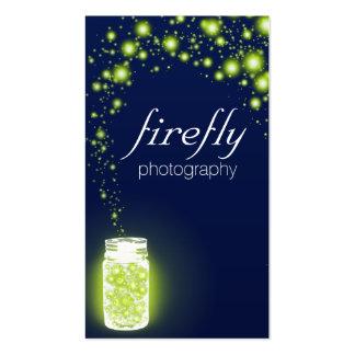 Glowing Jar Of Green Fireflies Blue Night Business Card