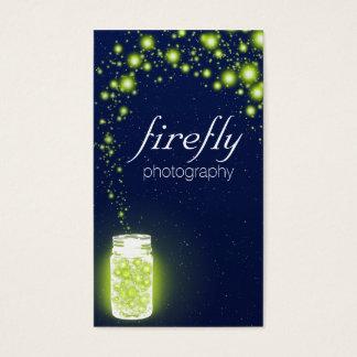 Glowing Jar Of Green Fireflies Blue Night Stars Business Card