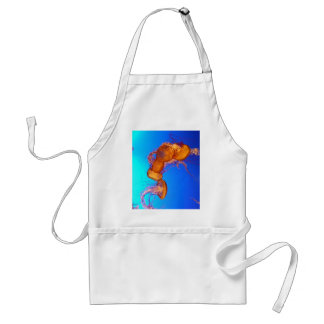 Glowing Jellyfish in Blue Water Adult Apron