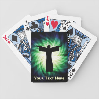 Glowing Jesus Christ Silhouette Bicycle Playing Cards