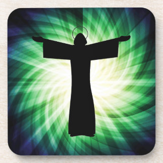 Glowing Jesus Christ Silhouette Drink Coaster