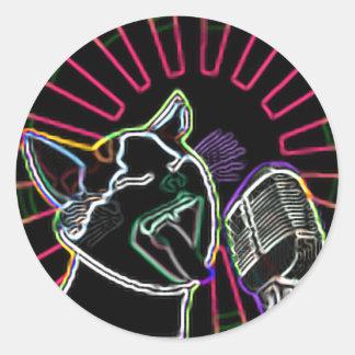 Glowing Karaoke Cat Classic Round Sticker
