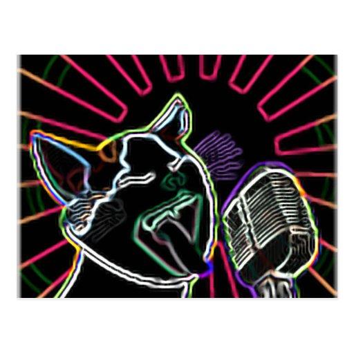 Glowing Karaoke Cat Postcard