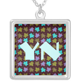Glowing Leaves Square Pendant Necklace