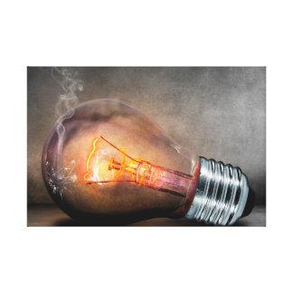 Glowing Light Bulb Cracked Glass Smoke Photo Canvas Print