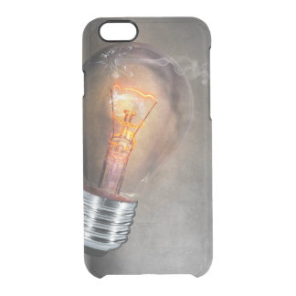 Glowing Light Bulb Cracked Glass Smoke Photo Clear iPhone 6/6S Case