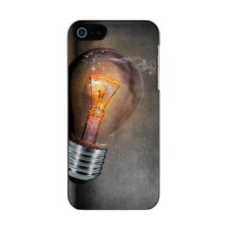 Glowing Light Bulb Cracked Glass Smoke Photo Metallic Phone Case For iPhone SE/5/5s