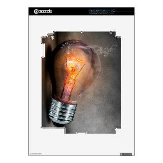 Glowing Light Bulb Cracked Glass Smoke Photo Skin For The iPad 2