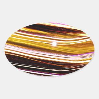Glowing Light Streaks Oval Sticker
