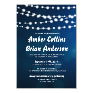 Glowing Light Strings on Deep Blue Bokeh Wedding Card