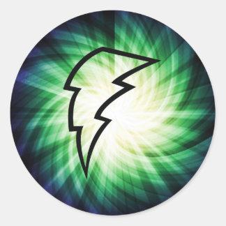 Glowing Lightning Bolt Classic Round Sticker