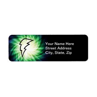 Glowing Lightning Bolt Label