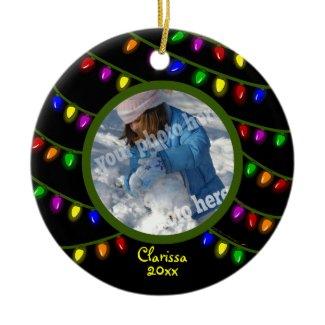 Glowing Lights Custom Christmas Photo Ornament