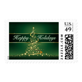Glowing Lights Happy Holidays Postage Stamp