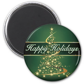 Glowing Lights Happy Holidays Round Magnet