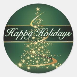 Glowing Lights Happy Holidays Round Sticker