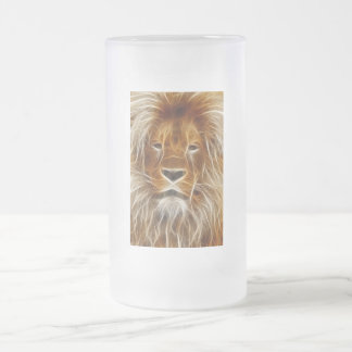Glowing Lion Portrait Frosted Glass Beer Mug
