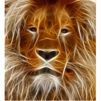 Glowing Lion Portrait Standing Photo Sculpture