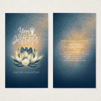 Glowing Lotus Meditation OM Symbol Yoga Instructor Business Card
