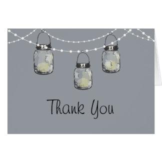 Glowing Mason Jars on a String of Lights Card